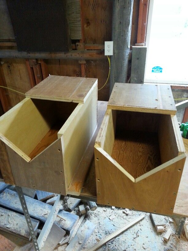 Rabbit nest boxes made from reclaimed wood for our silver fox does.