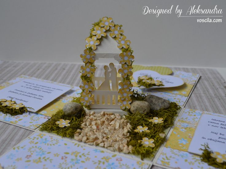 Wedding exploding box with married couple in the romantic garden pavilion. …