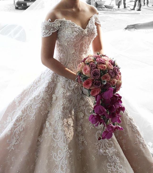 Mak Tumang bridal couture Cap sleeves, lace appliqués, sweetheart ball gown