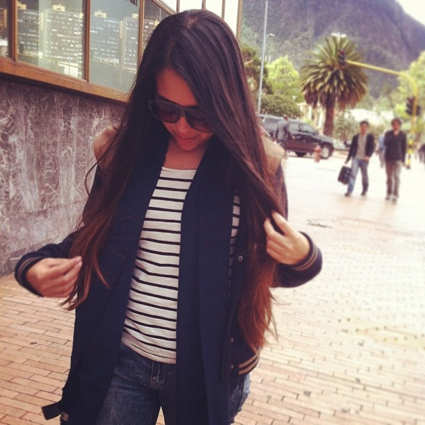 Long hair, ombre hair.