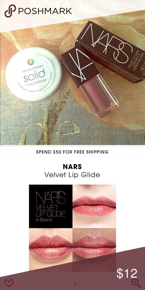 NARS Velvet Lip Glide {Bound}|Beauty Blender Solid Brand new NARS Velvet Lip Glide in the shade Bound (travel size 2mL) and travel sized Beauty Blender cleanser solid. I'm happy to bundle 😊 NARS Makeup Lipstick