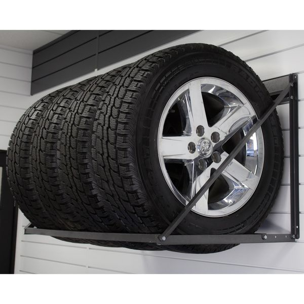 Store your winter tires properly with the Proslat Tire Rack, featuring a powder coated charcoal granite finish. This garage storage solution can hold up to four tires with mags, with a weight capacity