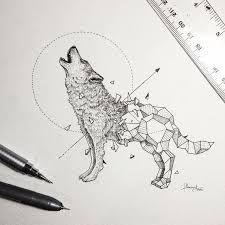 Resultado de imagen de tattoo geometrico lobo