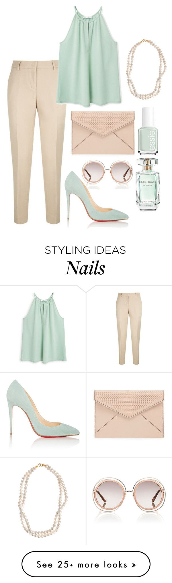 """."" by erixx on Polyvore featuring Chloé, DKNY, MANGO, Christian Louboutin, Rebecca Minkoff, STELLA McCARTNEY, Essie and Elie Saab"