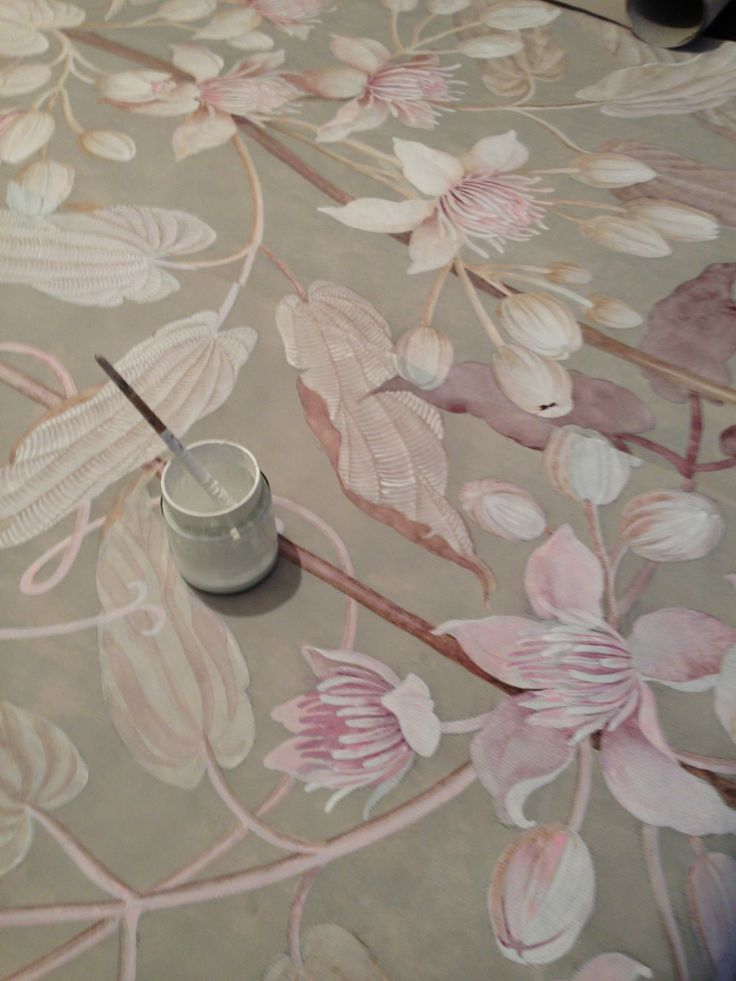 Handpainted Wallpaper - by Wouter Dolk.  Check out his website, his painting is detailed and wonderful.