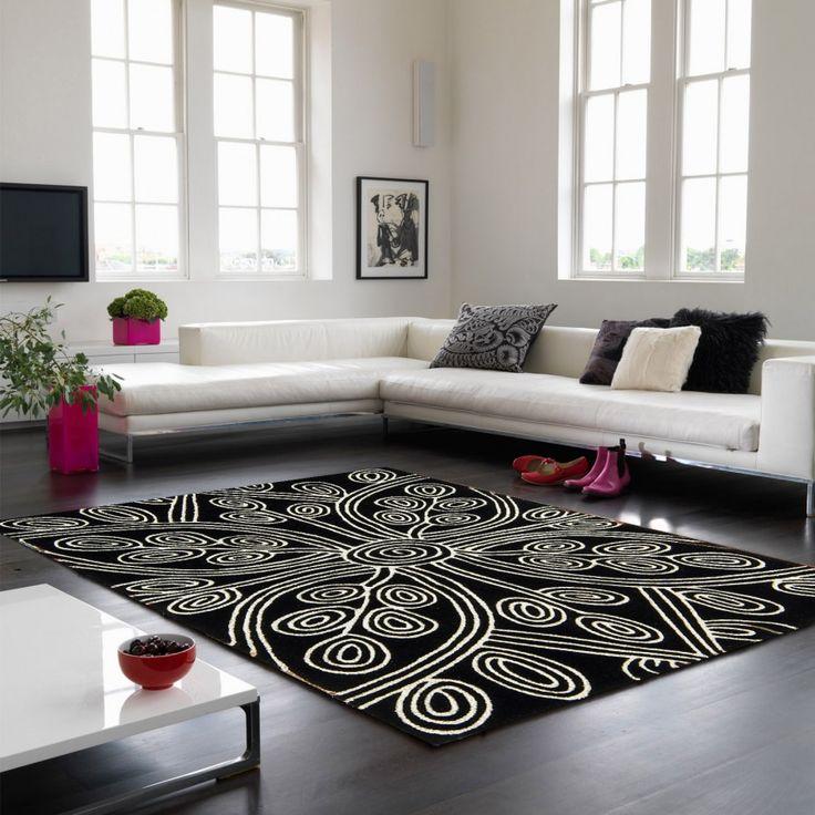 Matrix Code & Kaya MAX49 Kaya Black Floral Wool Rug by Asiatic Nothing looks more inviting than traditional Aboriginal art inspired, Max 49 Kaya Black rug. #handmaderugs #woolrugs #floralrugs #luxuriousrugs #modernrugs blackrugs #blackwoolrugs