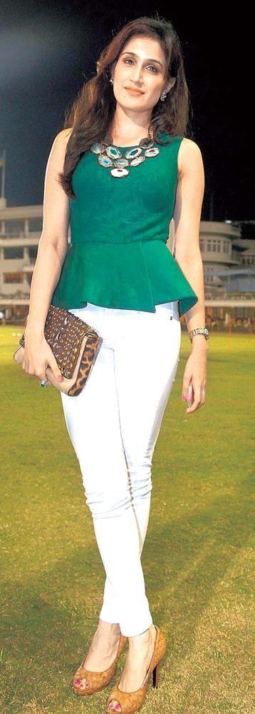 Sagarika Ghatge Green Peplum, White Pants