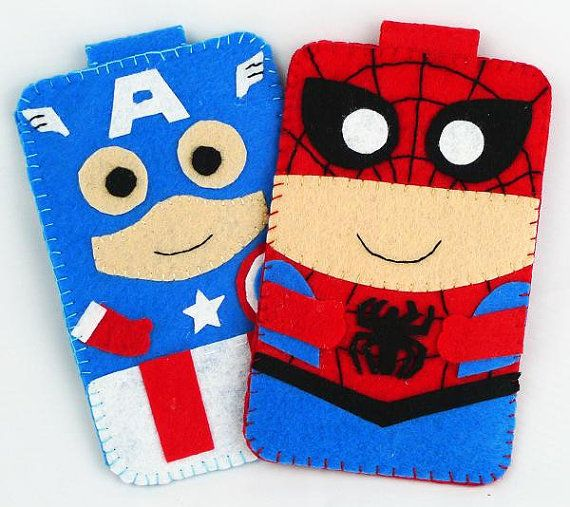 Hero collection Handmade Spiderman iphone, iphone 4S felt cell phone case (FREE SHIPPING) via Etsy