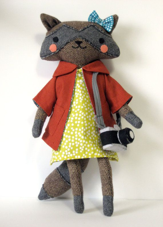 Sofia the Raccoon with Camera // Stuffed Animal Plush Doll // Forest Friend