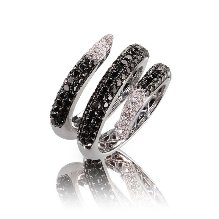 Snake Ring 14k white gold black and white Diamonds by Rosenzweig Jewelry