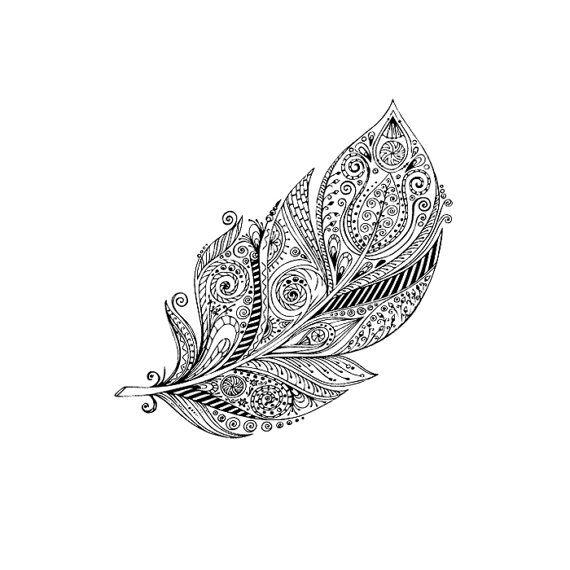 Großen Boho Feather Tätowierung Muster Tattoo von ArrowTattoo