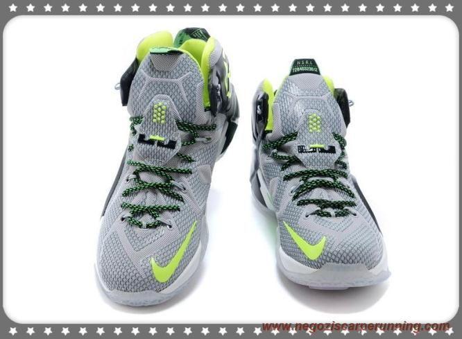 scarpe calcio bambino Uomo 684593-007 Light Grigio/Fluorescent Verde/Nero Nike Lebron 12 EP