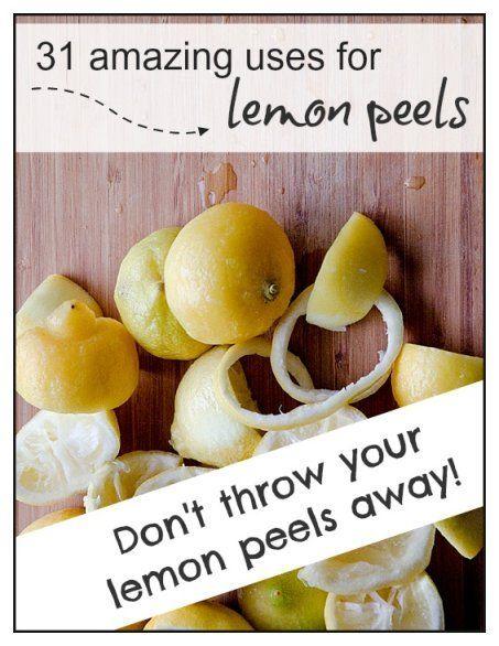 31 amazing uses for lemon peels. Don't throw your lemon peels away! www.thankyourbody.com