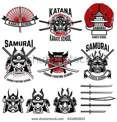 Karate school labels. Samurai swords, masks. Japanese culture. Design element for logo, label, sign. Vector illustration