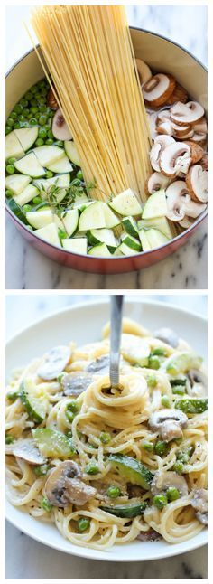 Interessante Idee, müsste man mal ausprobieren: Gemüse und Pasta zeitgleich ins kochende Wasser. Abgießen, Parmesan, Creme Fraiche, Salz und Pfeffer dazu. Fertig! One Pot Zucchini Mushroom Pasta