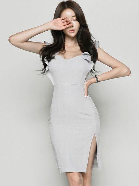 a8de37ba50e63 Grey Bodycon Dress V Neck Sleeveless Checkered Print Split Pencil Dress