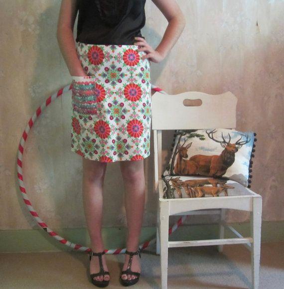 Bias Cut Skirt with Ric Rac pocket 1960s Mod Teen by byShoebridge