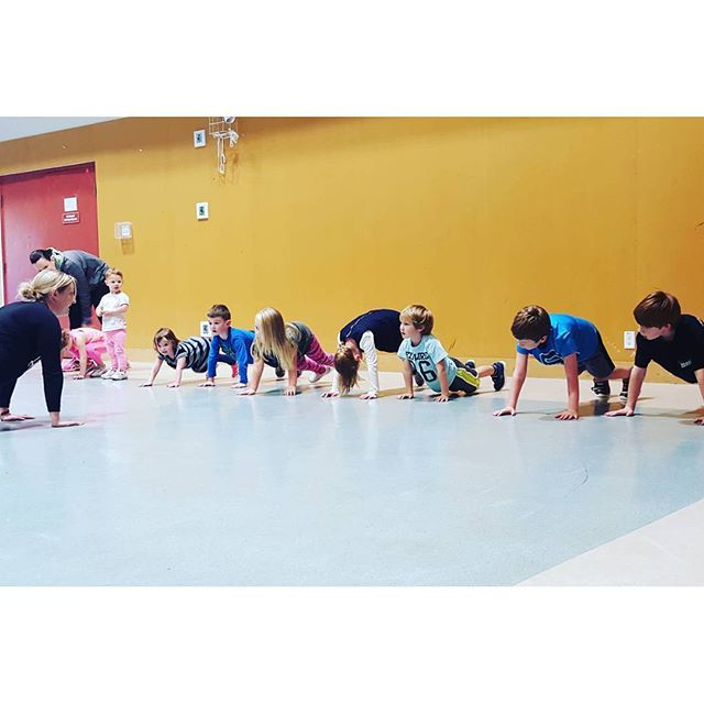 """From our HotMamaFit OHM: """"Hot Mama's first ever Hot Mama Mini Bootcamp. 9 kids ranging in age from 3 - 7 participating in exercise as play. 30 minutes of awesome.  They're learning proper form, technique and having a TON OF fun. I couldn't be more proud of our newest class offered at Hot Mama.""""  #hotmamafit #hotmamamini #rolemodel #awesome #familyfitness"""