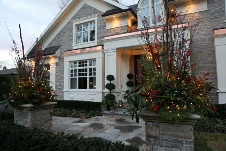 Christmas outdoor decorations for custom-built luxury home built by Carlos Jardino & @PCMNowOakville