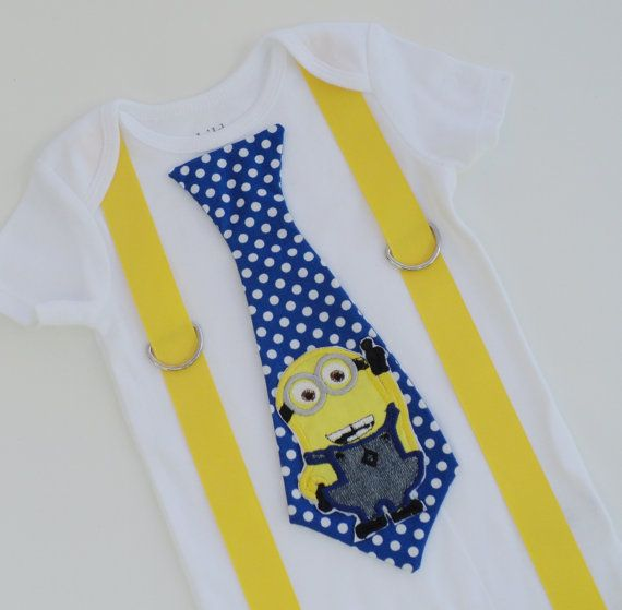 Two Eyed Minion Inspired Tie T Shirt with Suspenders  Sizes  0-3 mo, 3-6 mo, 6-12 mo, 18 mo, 24mo, 2t, 3t, 4t, 5/6