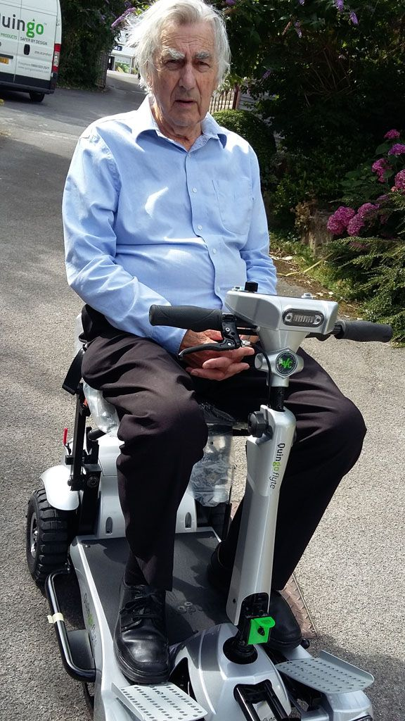 Mr Baggerly on his new Flyte mobility scooter get your demonstration here http://contact.quingoscooters.com/social-mobility-scooters/