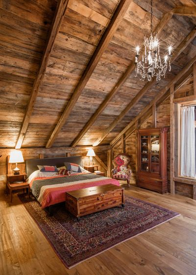Rustic Cabin Bedroom by Silver Maple Construction LLC