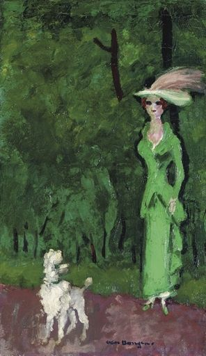 Kees van Dongen - Elégante en vert, à l'aigrette...