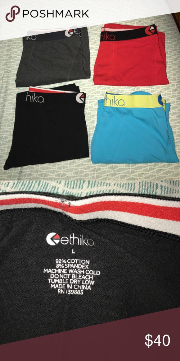Never worn ethika boxers All size large. Cotton. Grey, red, black and blue. Sells for 24$ each. Have them all for 40 ethika Underwear & Socks Boxers