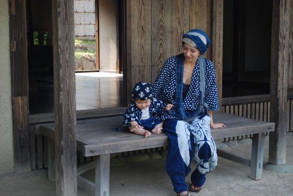 日本の原風景・母あゆみ絣の野良着、筒描着モンペ.。  子みちる 絣着物