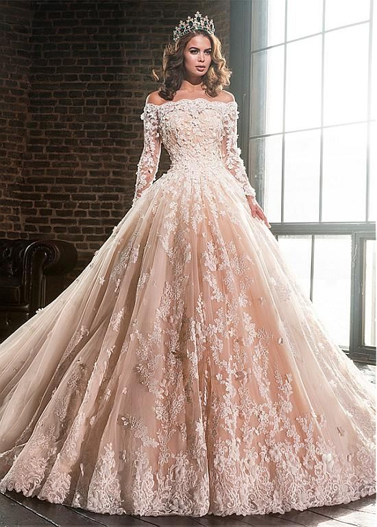 Buy discount Lavish Tulle & Satin Off-the-shoulder Ball Gown Wedding Dresses With Lace Appliques at Magbridal.com