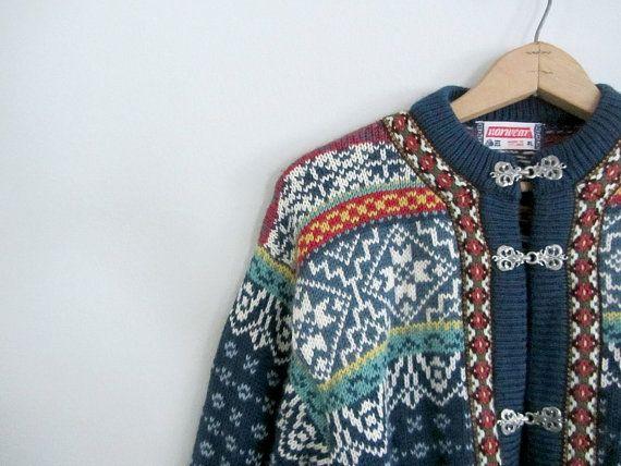 Icelandic cardigan . vintage 1980s Nordic cardigan by BlueFennel