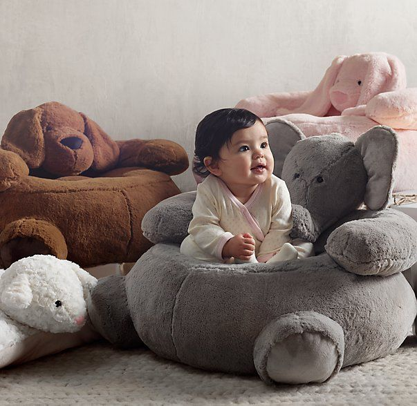RH baby&child's Cuddle Plush Elephant Chair:The softest seat in the house is also one of the friendliest.