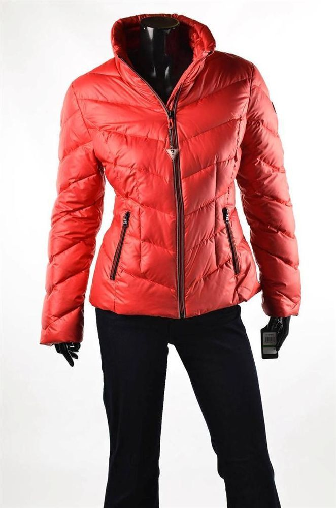 Guess Jacket Womens Outerwear New Red Down L S Puffer Coat
