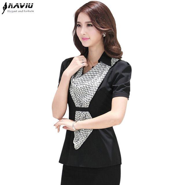Шарф бесплатно Рубашка женские летние 2015 мода черный белый тонкий блузки топы OL с коротким рукавом рабочая одежда упругой плюс размер рубашки