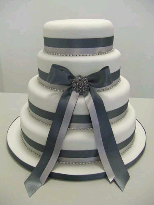 white wedding cake with silver ribbon charcoal grey white amp silver wedding cake it 27422