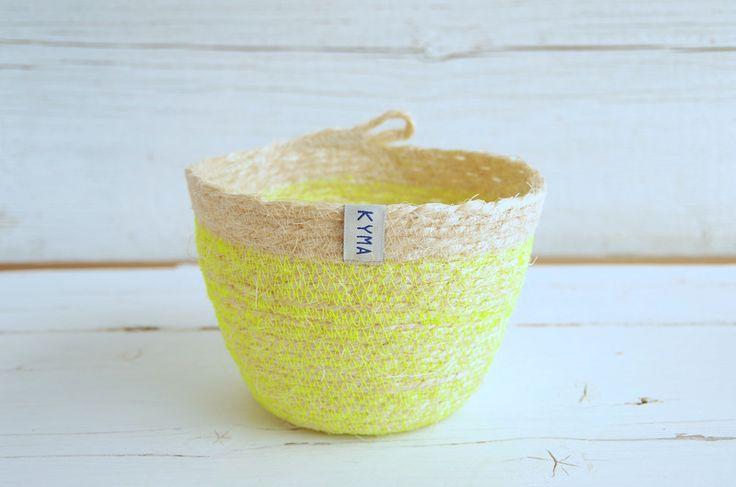 Handmade Coil Sisal Basket Korb Neon Neonyellow ~ http://kymastyle.wordpress.com ~ Dawanda Shop: http://dawanda.com/shop/kymastyle