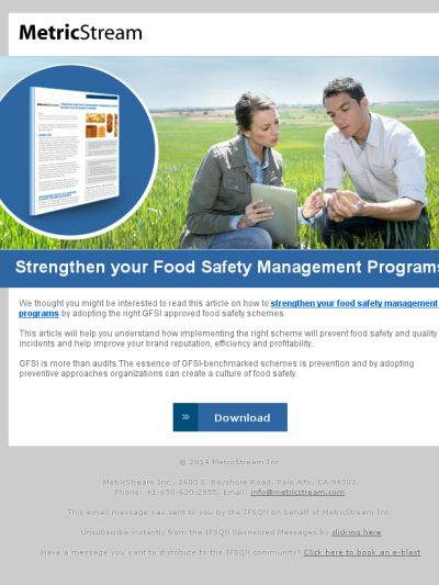 Strengthen your Food Safety Management Programs https://madmimi.com/p/2ec7f4