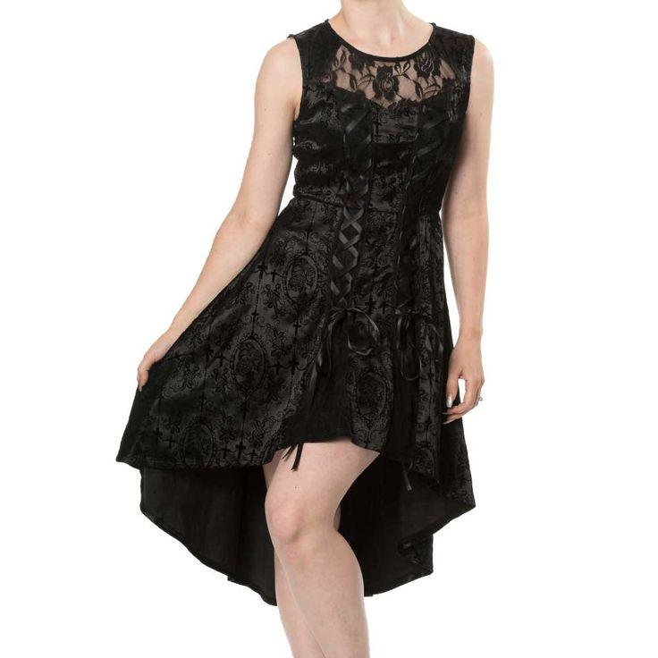 Skull Candy satijnen high low jurk met bloemen schedels print en lint detail zwart - Gothic