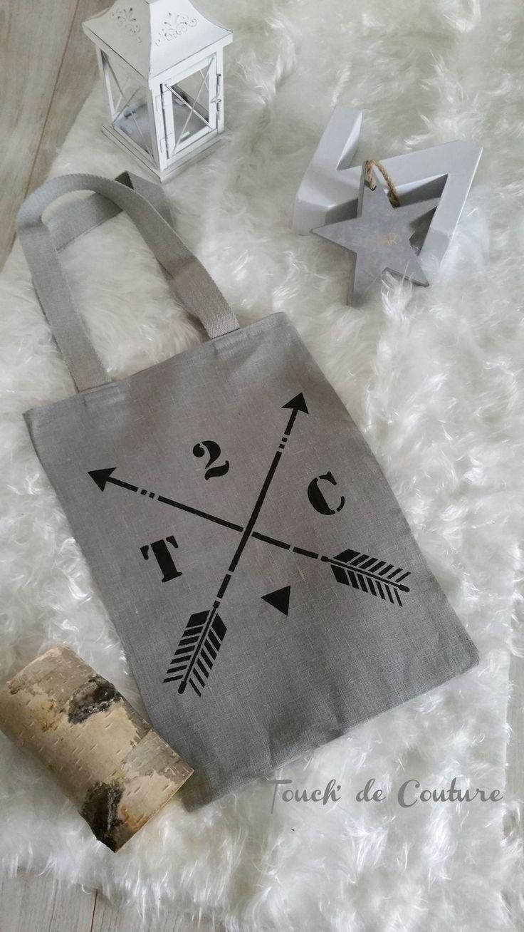 """Tote bag en lin gris """"flèches croisées"""" T2C"""