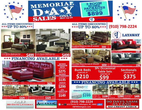 memorial day sales atlantic bedding furniture wilmington nc furniture mattress. Black Bedroom Furniture Sets. Home Design Ideas