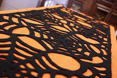 Spider Web Table Runner TutorialSpider Webs, Halloween Crafts, Halloween Table, Tables Runners, Spiderweb Tables, Crafty Cupboards, Table Runners, Halloween Ideas, Spiders Web