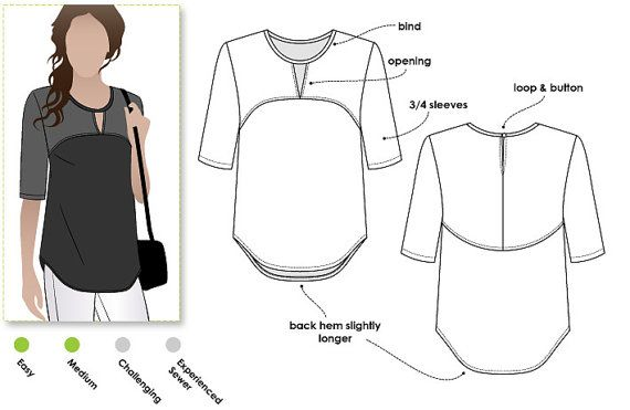 Top sewing pattern in sizes 18, 20 and 22. PDF sewing pattern for women for instant download. See size chart in the gallery to choose your correct size! Sizes 4 - 30 are available in our store.  This is just a great top. The curved front and back yokes make it a fashionable style that can be worn on any occasion. Colour-block this style in your favourite colours to create your unique look.  *** 29 - 33 pattern tile pages ***  Pattern measurements based on a size 10 pattern: Bust = 104 cm or…