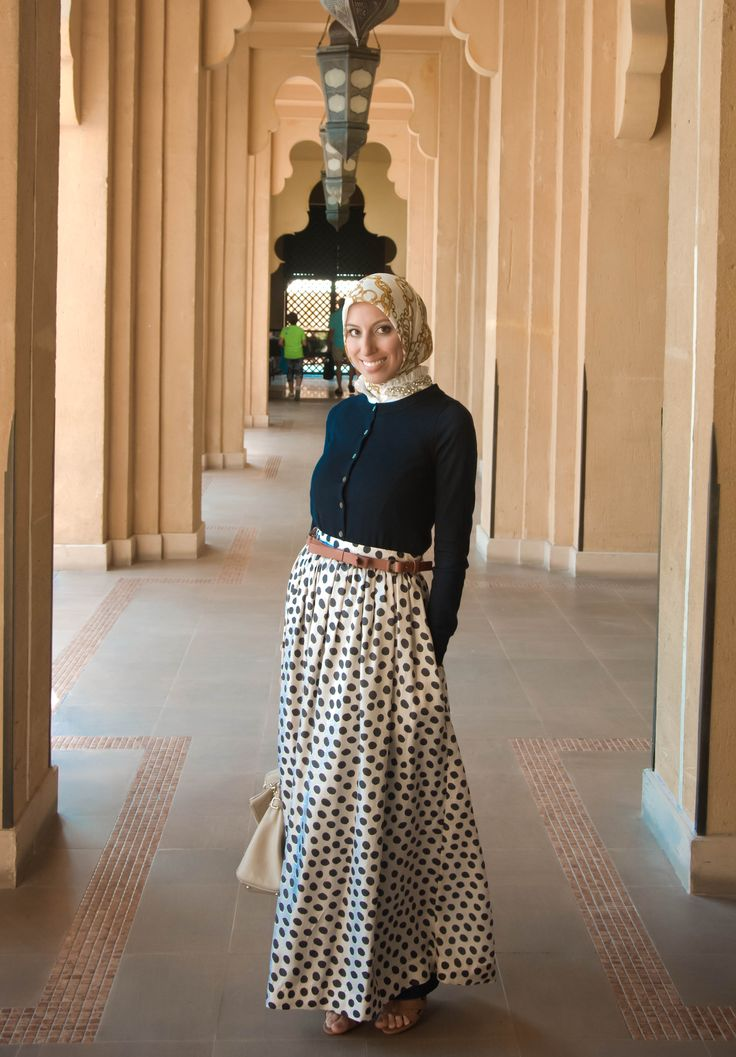 HH Style Guide: Classic Polka Dot Day Skirt + Cardi + Jewelled Collar - Haute Hijab