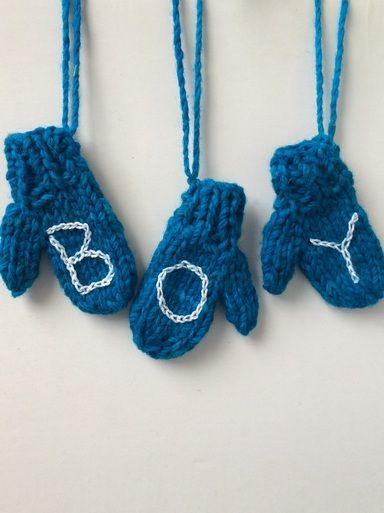 Boy Garland - Mitten Ornament