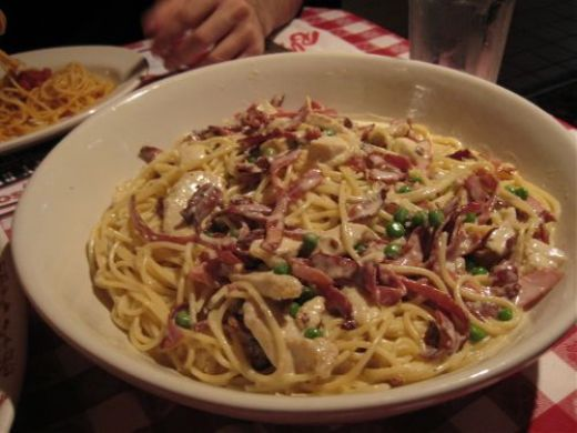 Chicken Carbonara ~ Ingredients needed: 1/2 c olive oil, 8 oz prosciutto, thinly sliced, 1/4 c garlic, chopped, 1.1/2 cups cooked chicken strips, 1.1/2 cups heavy cream, 1.1/2 cups Alfredo sauce, 2/3 c peas, black pepper to taste, 2 lbs cooked spaghetti.  Alfredo Sauce:   1 qt heavy cream, 4 TBS softened butter, 2 c Parmesan cheese, Salt and pepper to taste.