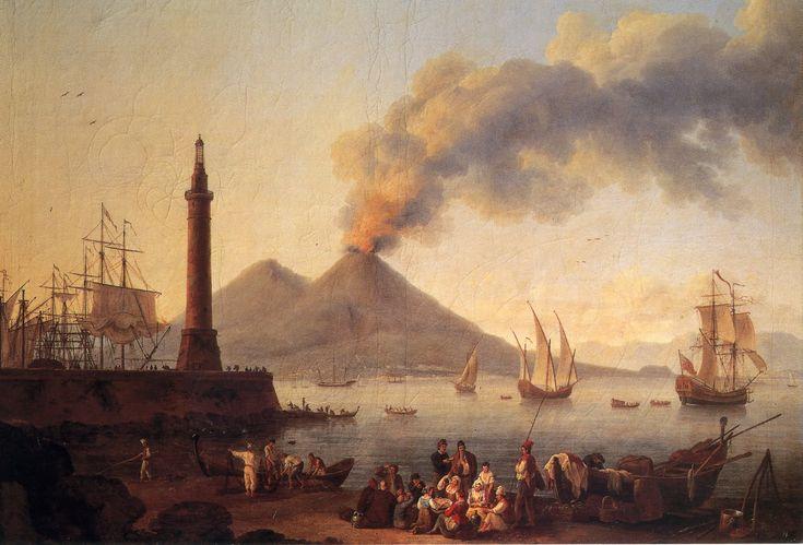 Puerto y Golfo de Nápoles, con el Vesubio al fondo