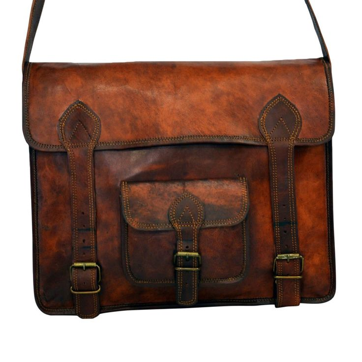 "Vintage Leather Laptop Bag, Messenger Bag or Briefcase for Men & Women. 11"" x 15"" x 4"""