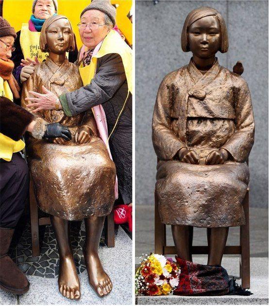 광복절 처음 맞는 일제 위안부 소녀상.(일본 대사관 앞)  탄생 246일.  위안부 출신 할머니들이 그 옛날 자신의 모습같은  소녀상을 어루만지는 모습 찡합니다.    대~한민국,아픔 통해 부활하라!
