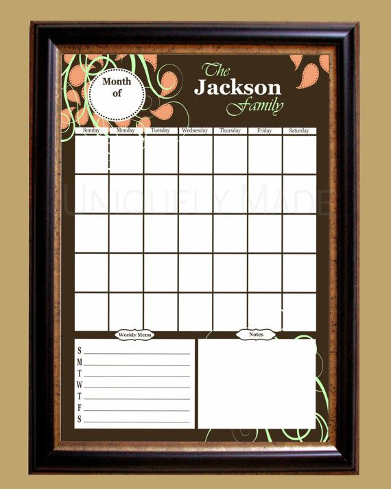 Dry Erase Wall Calendar Personalized 20 X 30 Paisley