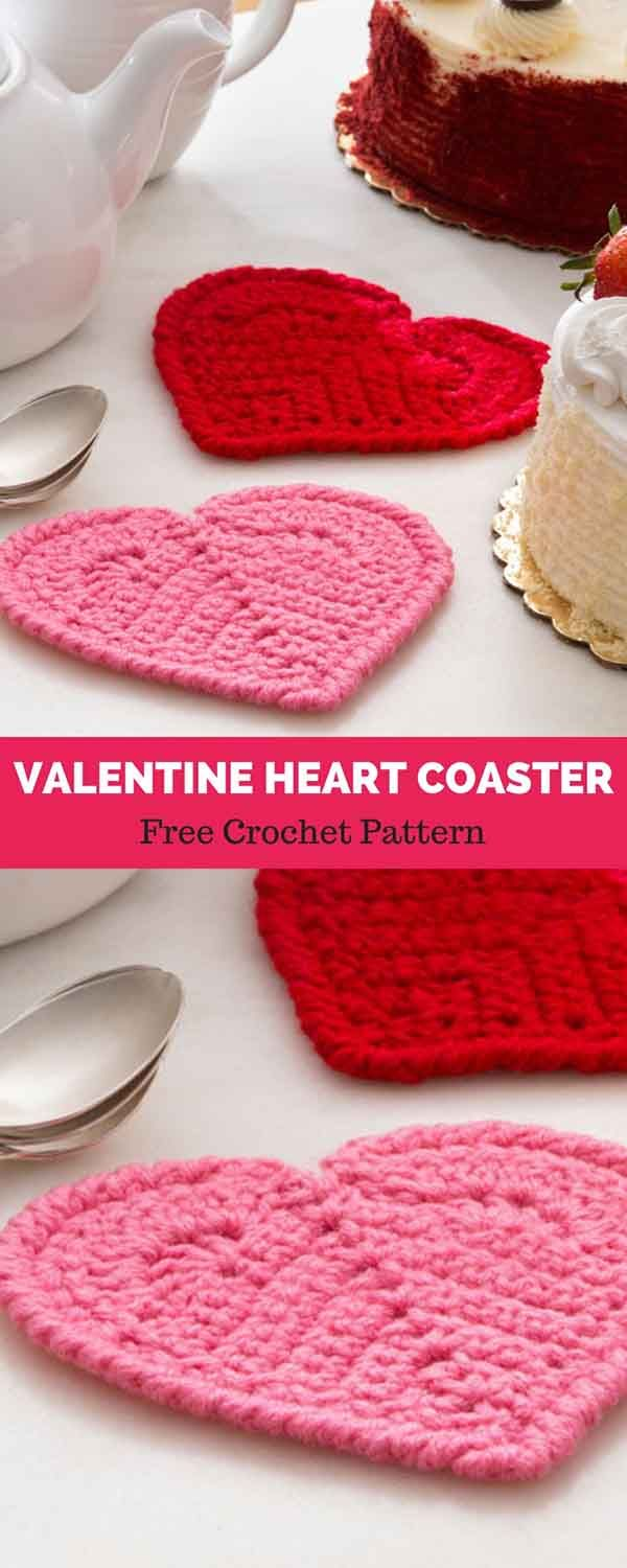 Valentine Heart Coaster Free Crochet Pattern Knits And Pearls